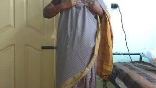 desi  indian tamil telugu kannada malayalam hindi horny cheating wife vanitha wearing grey colour saree  showing big boobs and shaved pussy press hard boobs press nip rubbing pussy masturbation